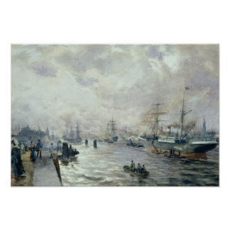 Sailing Ships in the Port of Hamburg, 1889 Poster