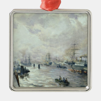 Sailing Ships in the Port of Hamburg, 1889 Silver-Colored Square Decoration