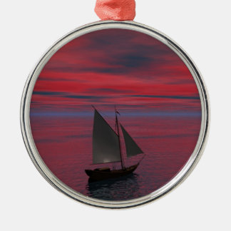 Sailing Silver-Colored Round Decoration