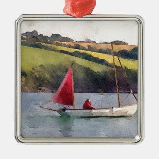 Sailing Silver-Colored Square Decoration