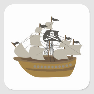 Sailing Skull and Swords Flag Pirate Ship Square Sticker