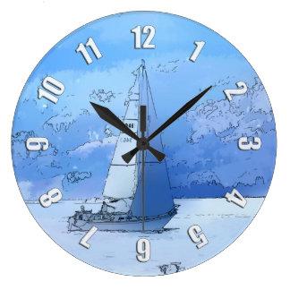 Sailing the Calm Blue Waters - Sailboating Clock