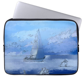 Sailing the Calm Blue Waters - Sailboating Laptop Sleeve