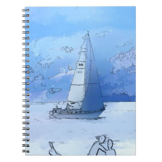 Sailing the Calm Blue Waters - Sailboating Notebook