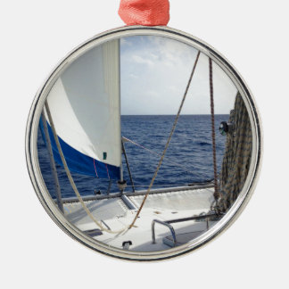 Sailing the Carribean Silver-Colored Round Decoration