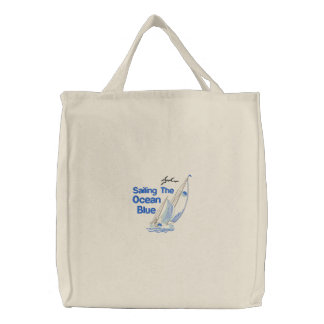 Sailing The Ocean Blue Embroidered Bag