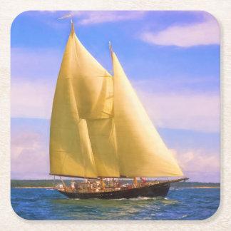 Sailing The Sound Square Paper Coaster