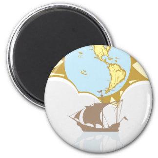 Sailing the World 6 Cm Round Magnet