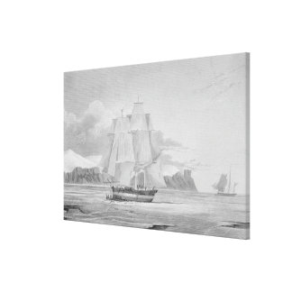 Sailing through young ice, September 1824, from 'J Canvas Print