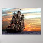sailing towards sunset poster