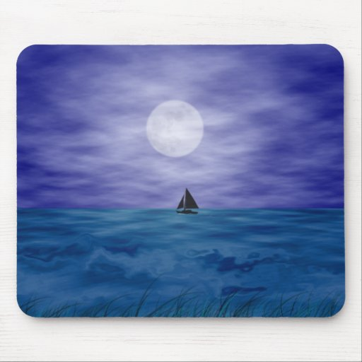 Sailing Under The Moon Mouse Pad