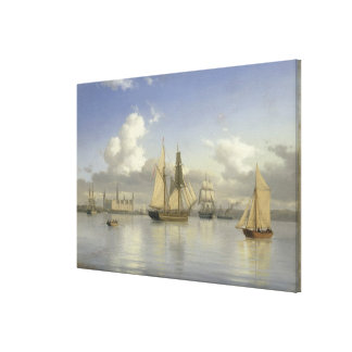 Sailing Vessels off Kronborg Castle, Sweden, 1880 Canvas Print