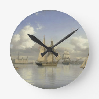 Sailing Vessels off Kronborg Castle, Sweden, 1880 Round Clock
