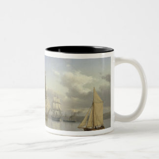 Sailing Vessels off Kronborg Castle, Sweden, 1880 Two-Tone Coffee Mug