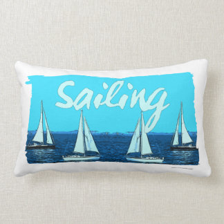 Sailing Vintage Cartoon Lumbar Cushion