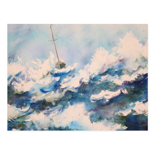 Sailing Watercolor Stormy Seas Postcard