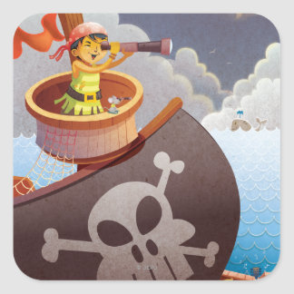 Sailing with Pirates Square Sticker