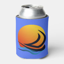 Sailing Yacht at Sunset Can Cooler