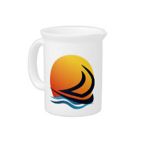 Sailing Yacht at Sunset Drinks Pitcher