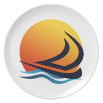 Sailing Yacht at Sunset Melamine Plates