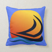 Sailing Yacht at Sunset Polyester Cushion