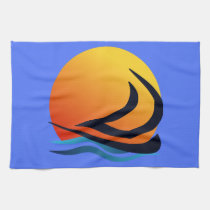 Sailing Yacht at Sunset Tea Towels