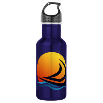 Sailing Yacht at Sunset Water Bottles