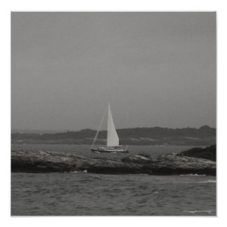 Sailing yacht black and white photography poster
