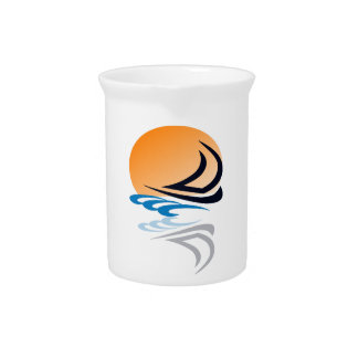 Sailing Yacht in the Sun Drink Pitchers