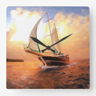 Sailing yacht, nautical theme square wall clock