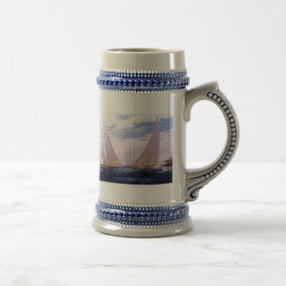 Sailing yachts and a three-master beer stein