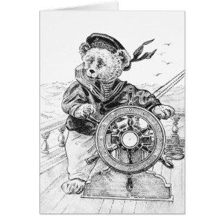 Sailor Bear Sam Steering Ship at Sea Card