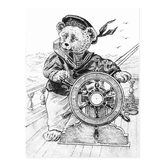 Sailor Bear Sam Steering Ship at Sea Postcard
