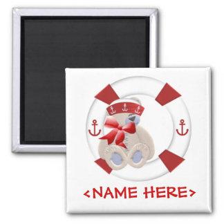 Sailor Bear Square Magnet