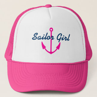 Sailor girl hat with pink boat anchor