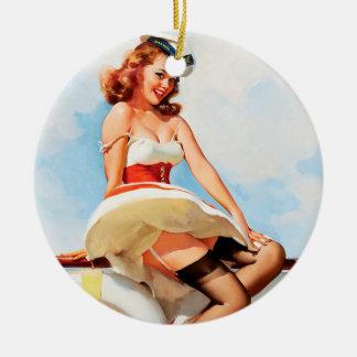 Sailor girl retro pinup round ceramic decoration