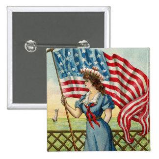 sailor girl - vintage nautical patriotic art 15 cm square badge
