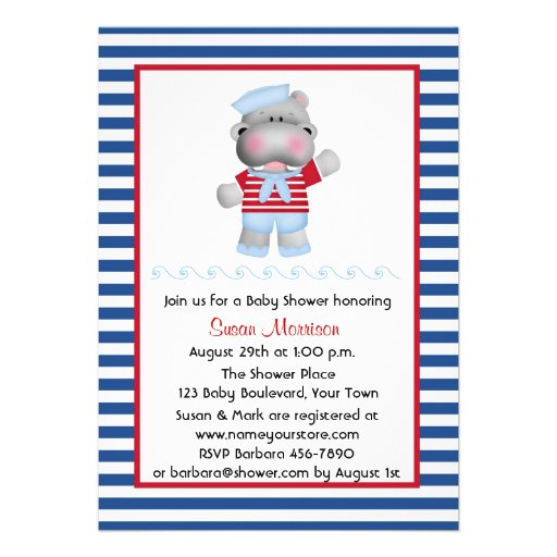 Sailor Hippo, Boy Baby Shower Personalized Invitation