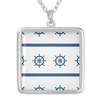 Sailor Marine Medium Silver Plated Square Necklace