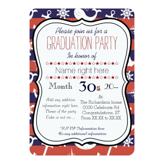 Sailor Nautical navy blue and red Graduaton party Card