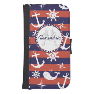 Sailor Nautical navy blue and red stripes monogram Samsung S4 Wallet Case