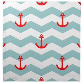 Sailor or nautical pattern on white and blue strip napkin