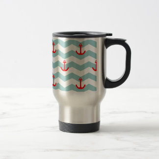 Sailor or nautical pattern on white and blue strip travel mug