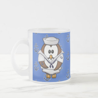 sailor owl frosted glass mug