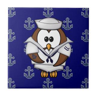 sailor owl small square tile