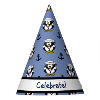 Sailor Penguin with Anchors Bib Party Hat