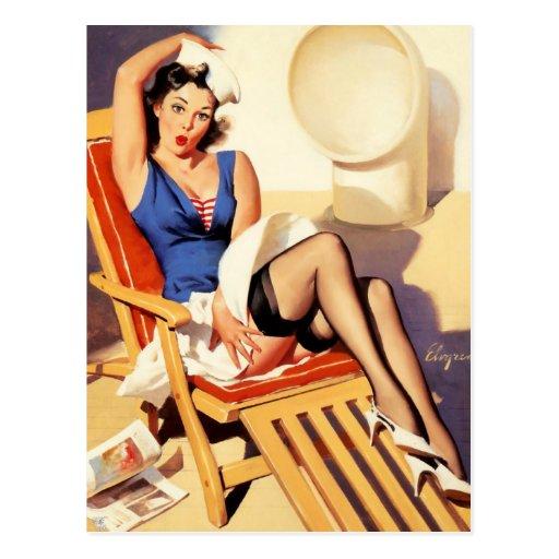 Sailor Pin-Up Postcard