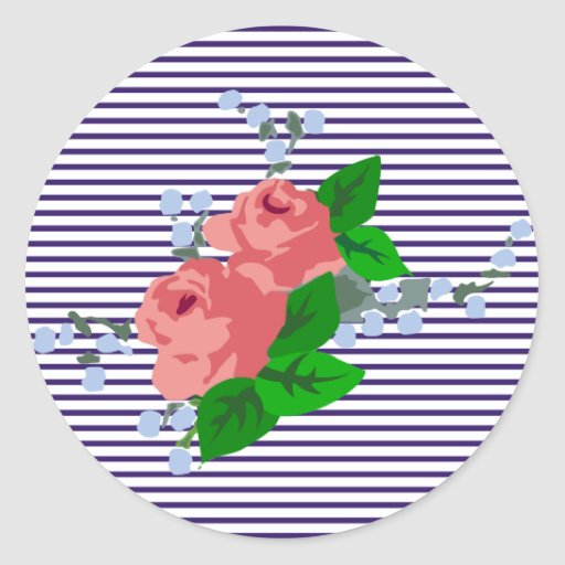 sailor stripes and roses round sticker