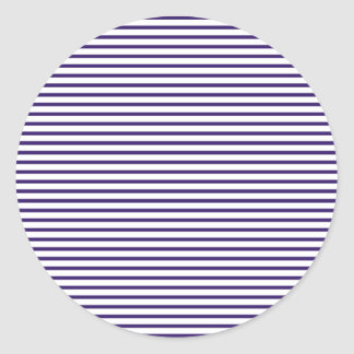 Sailor Stripes - Navy Blue and White Classic Round Sticker