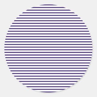 Sailor Stripes - Navy Blue and White Round Sticker